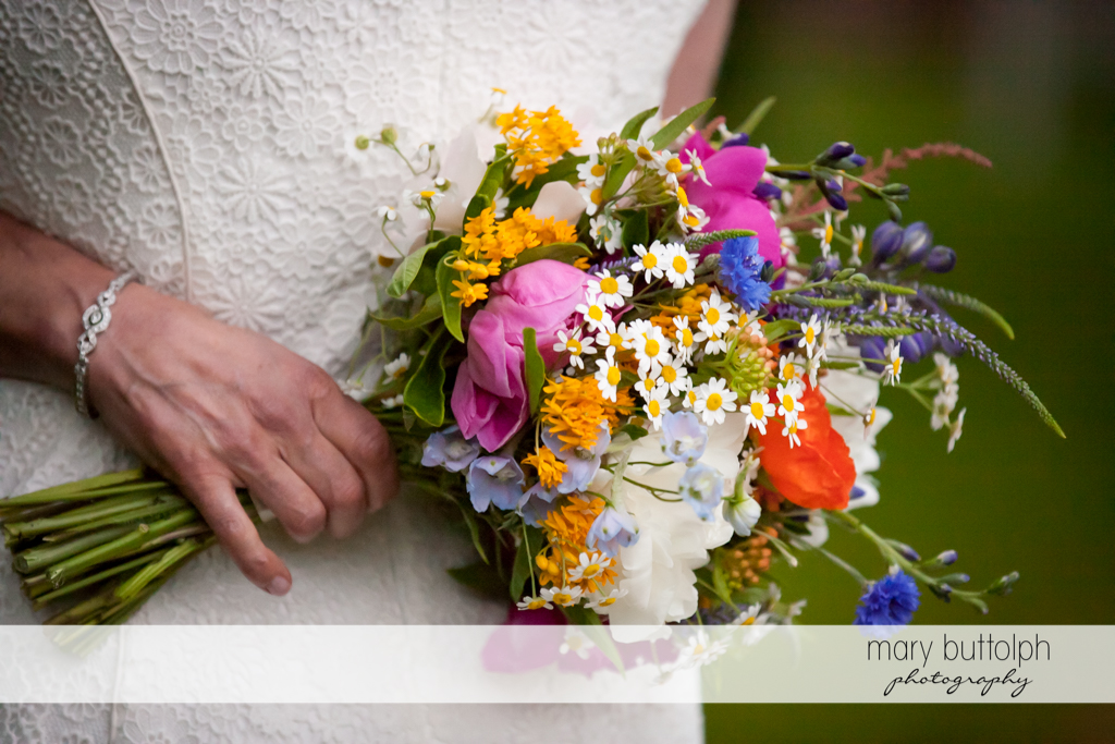 Close up shot of the lovely bouquet at Mandana Barn Wedding