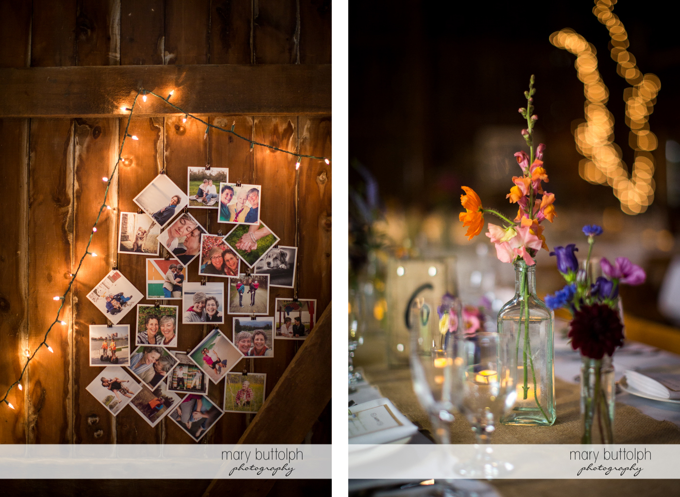Pictures of the same sex couple decorate the wedding venue and close up shot of flowers at Mandana Barn Wedding