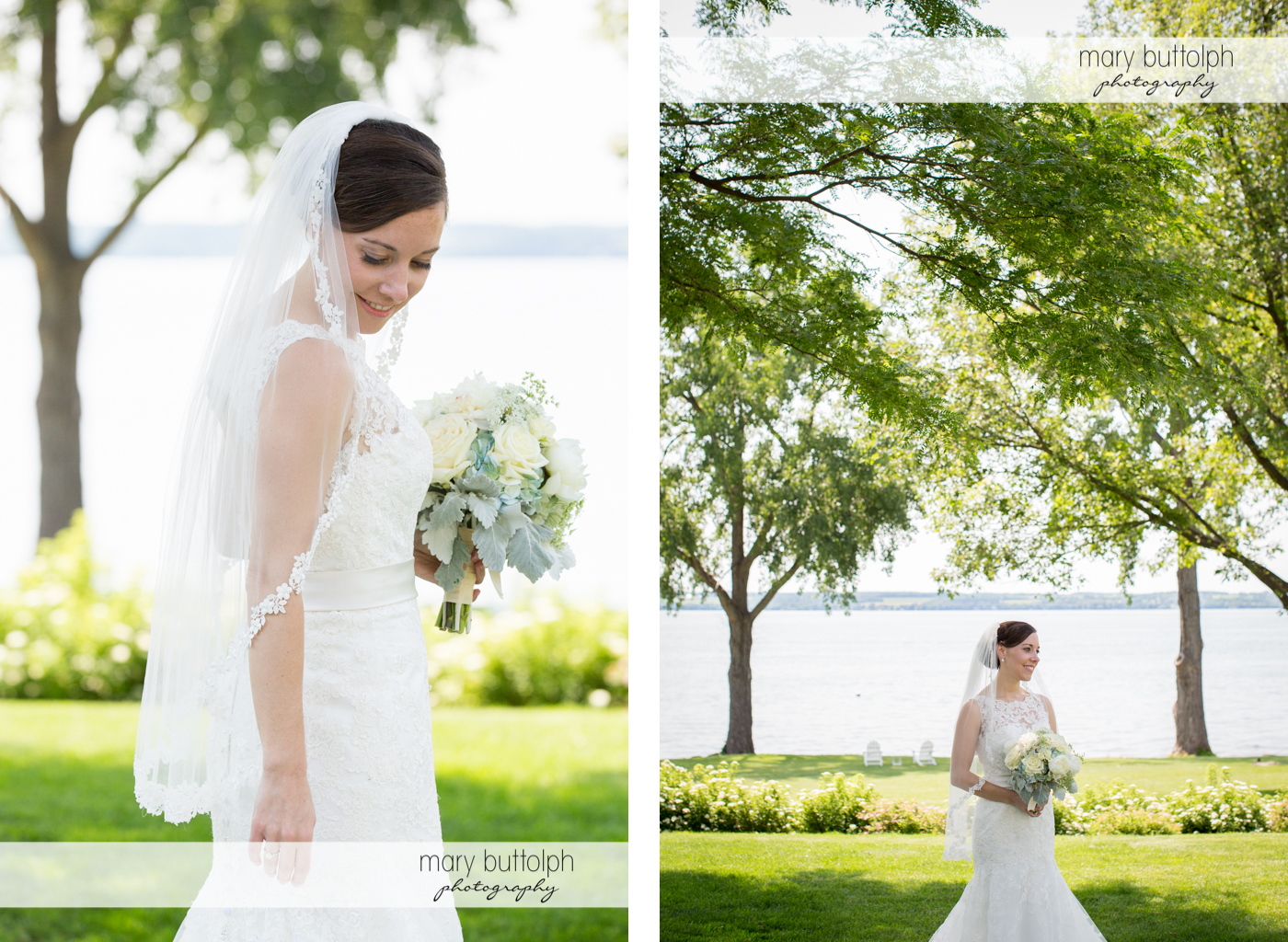 Two shots of the bride with a bouquet in the garden at the Inns of Aurora Wedding