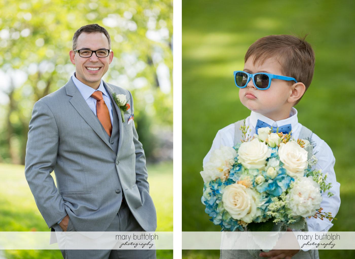 Groom and young boy with flowers pose in the garden at the Inns of Aurora Wedding