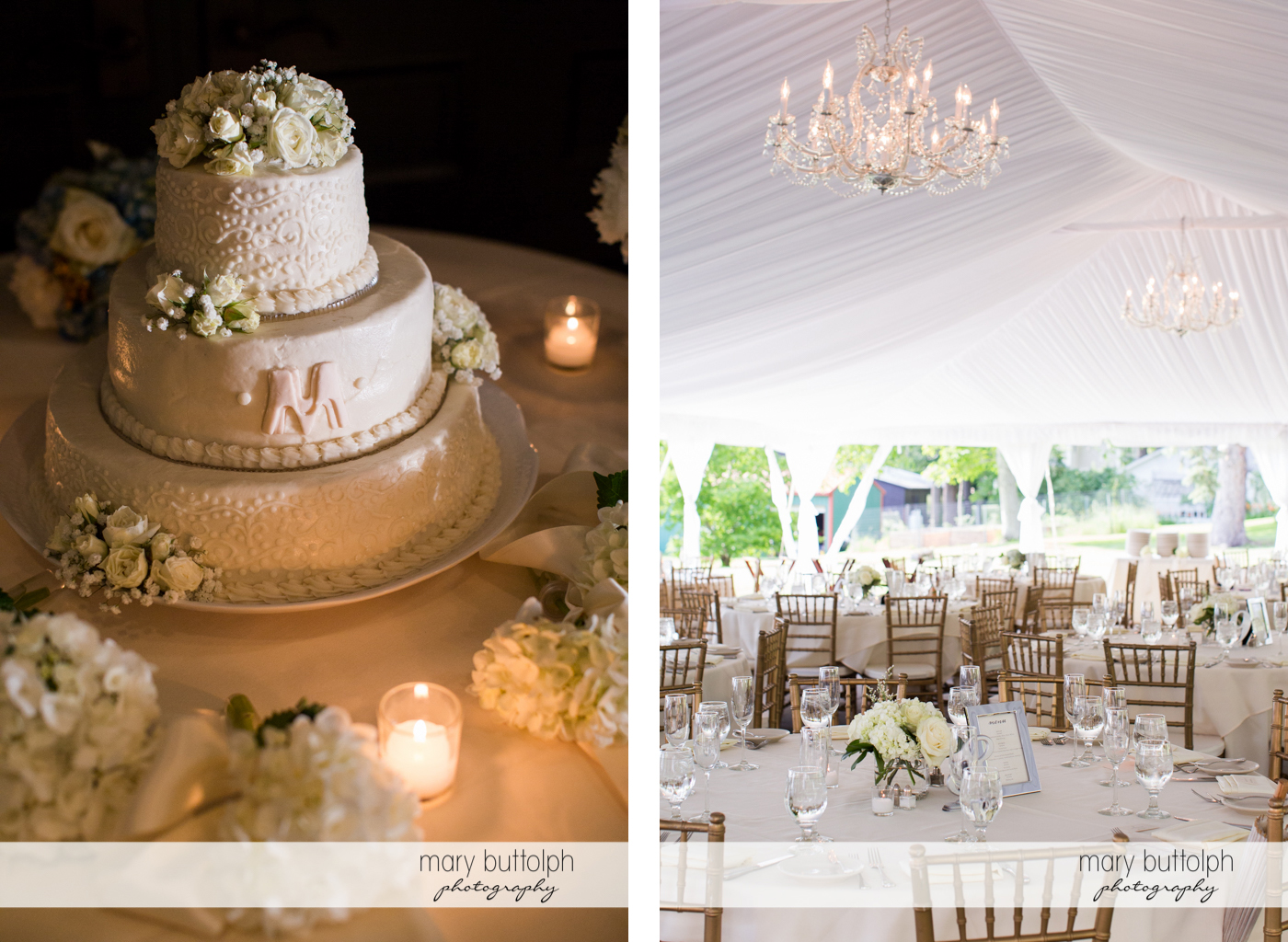 Close up of the couple's cake and wedding venue at the Inns of Aurora Wedding