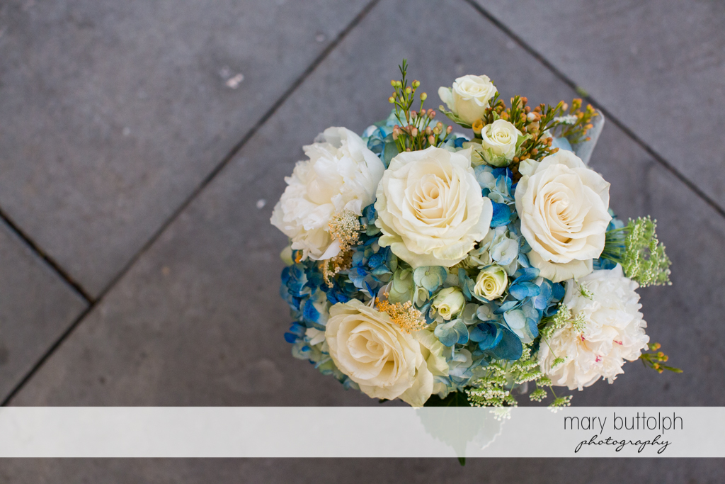 Close up shot of bouquet at the Inns of Aurora Wedding