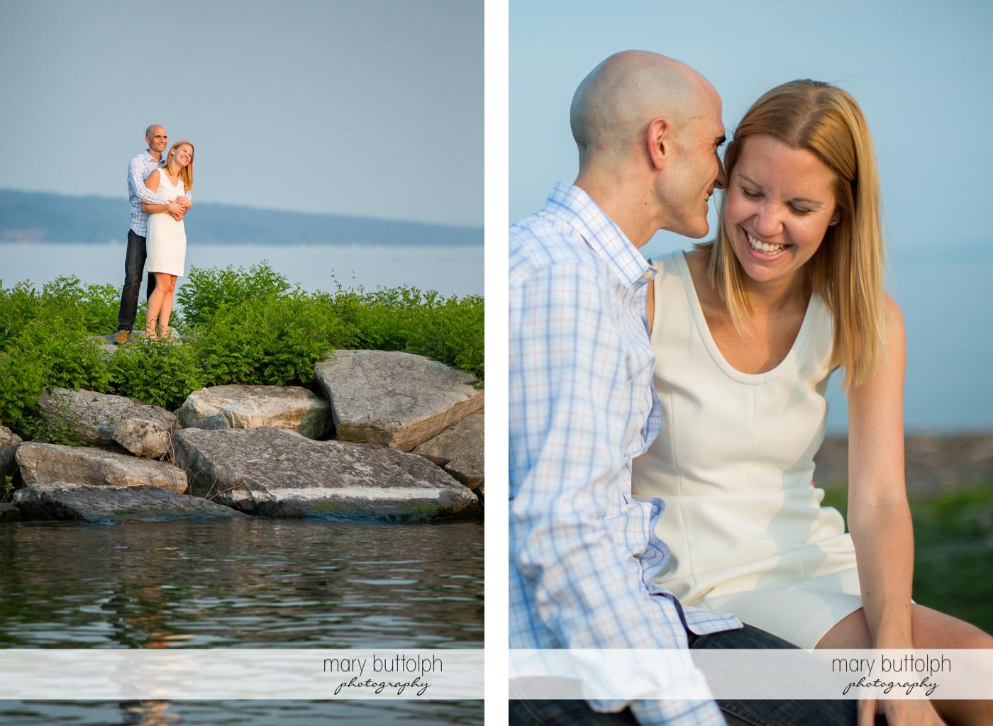 Couple enjoy the sights at the lake at Aurora Engagement