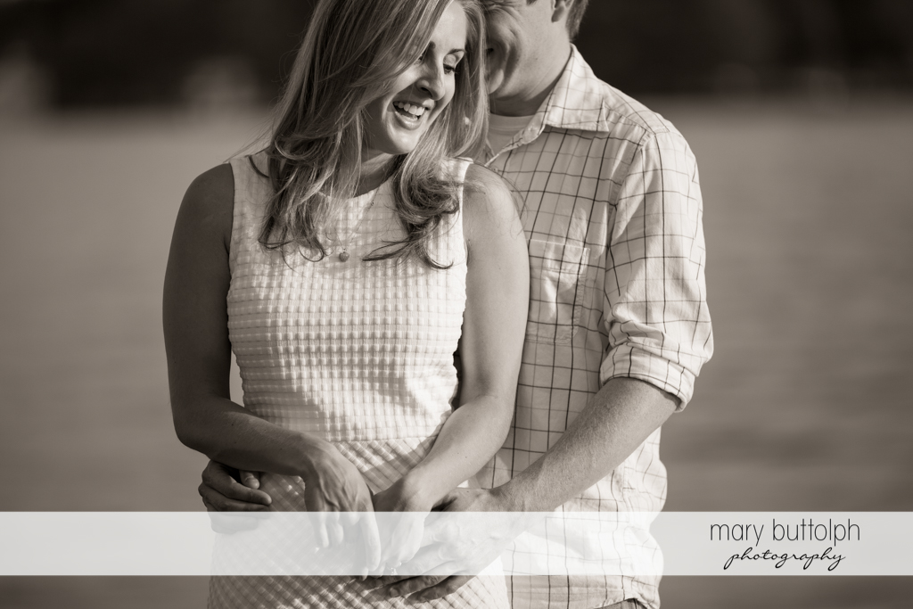 Couple's good mood captured in dramatic black and white shot at Skaneateles Engagement