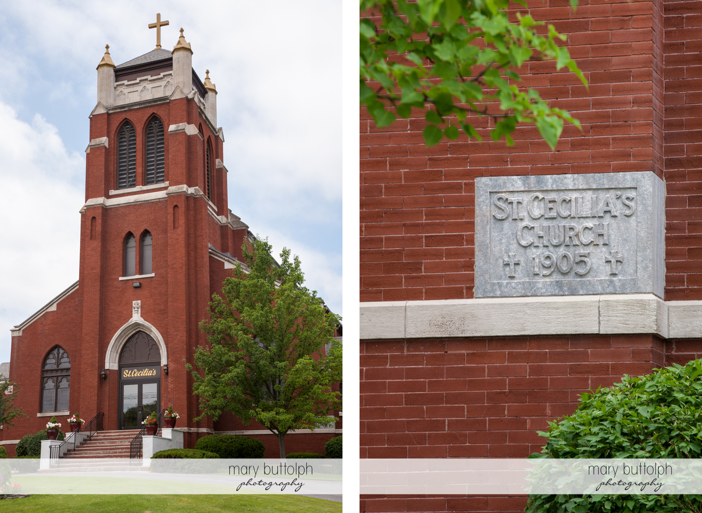Facade of St. Cecilia's Church and its name on the brick wall at Emerson Park Pavilion Wedding