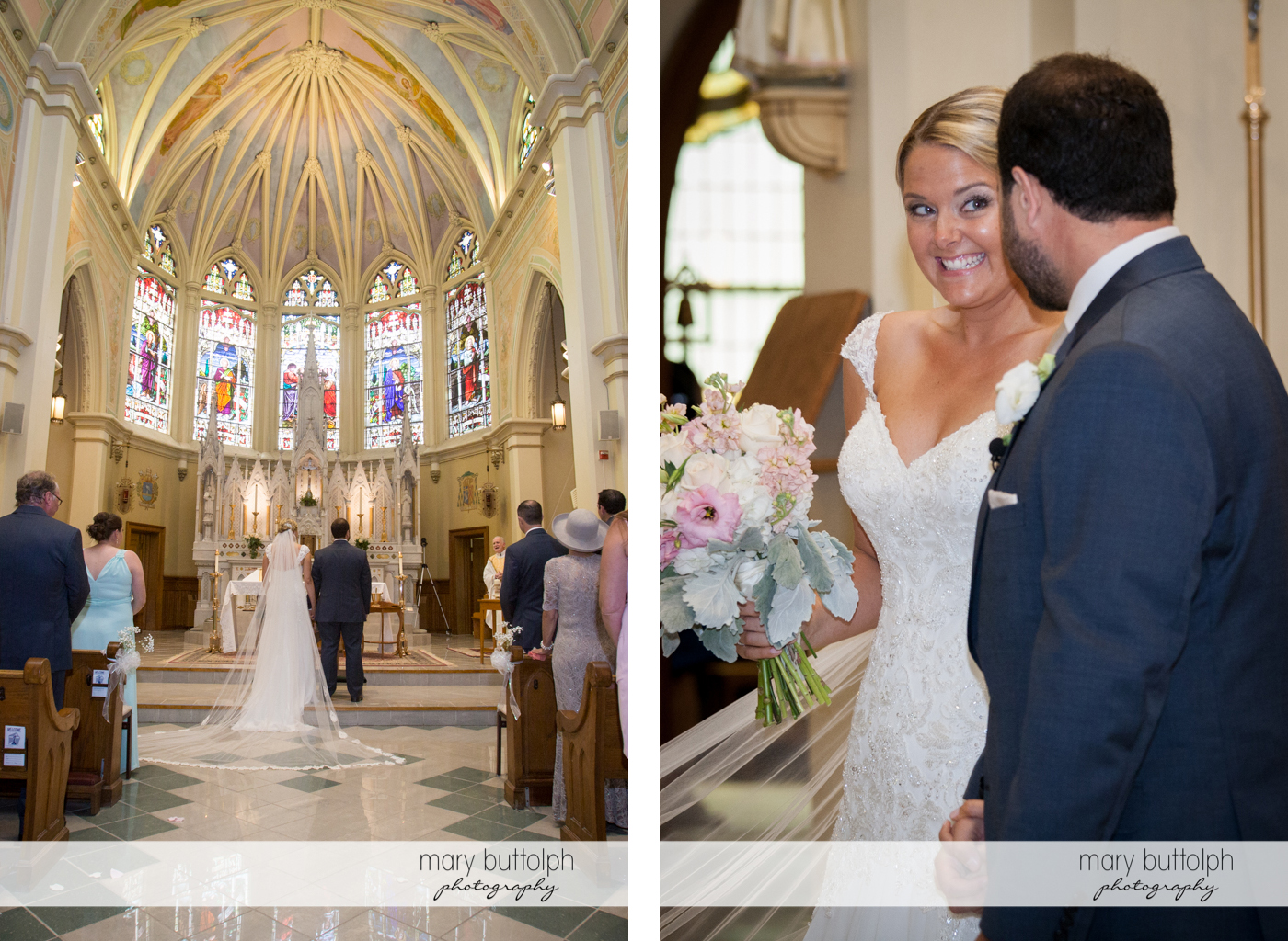 Couple face the altar and themselves at Emerson Park Pavilion Wedding