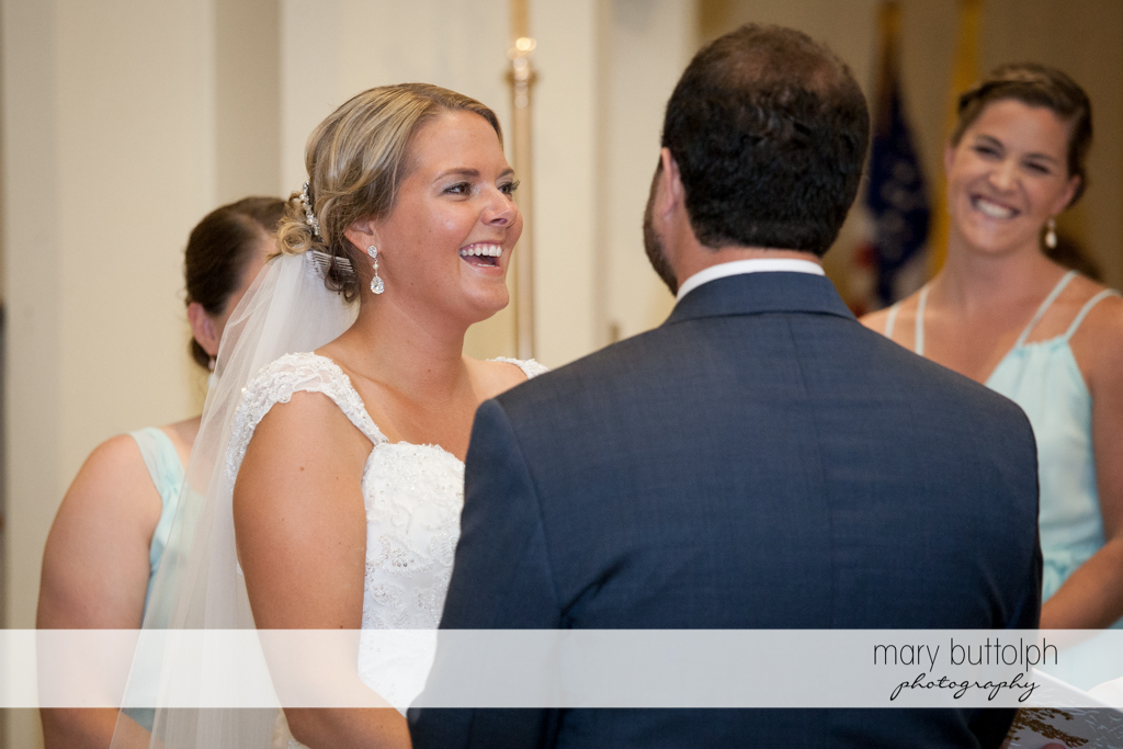 Bride can't hide her happiness on her wedding day at Emerson Park Pavilion Wedding