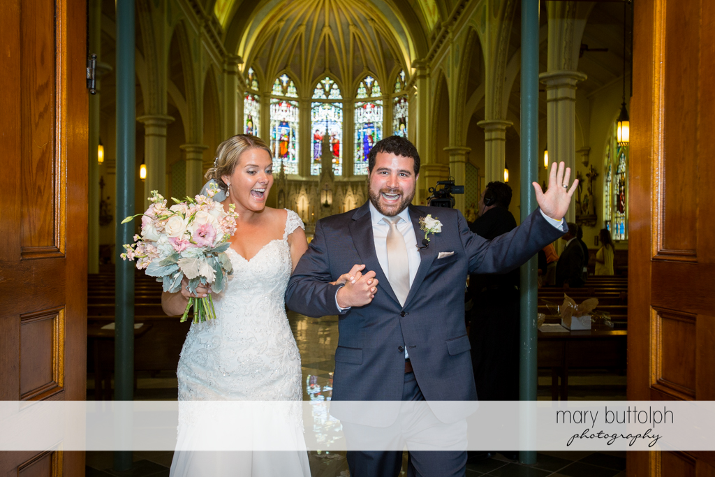 Couple leave church after the wedding at Emerson Park Pavilion Wedding