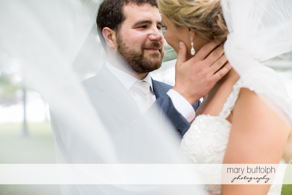Couple share a tender moment under the wedding veil at Emerson Park Pavilion Wedding