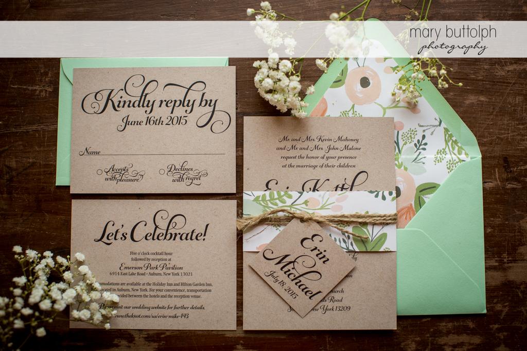 Couple's unique wedding invitations at Emerson Park Pavilion Wedding