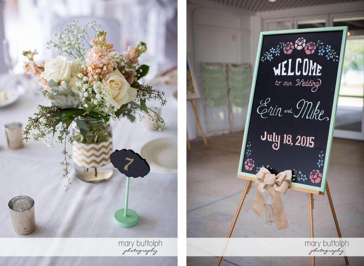 Flowers bring beauty to the wedding venue while a blackboard welcomes the newlyweds at Emerson Park Pavilion Wedding
