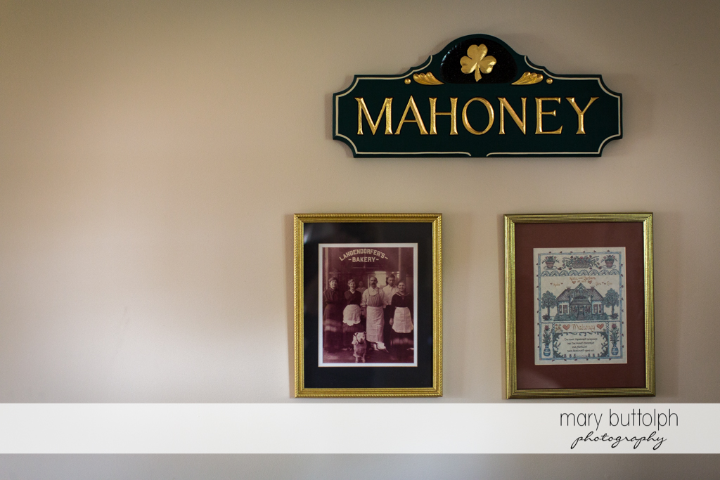 Old photographs decorate the walls at Emerson Park Pavilion Wedding