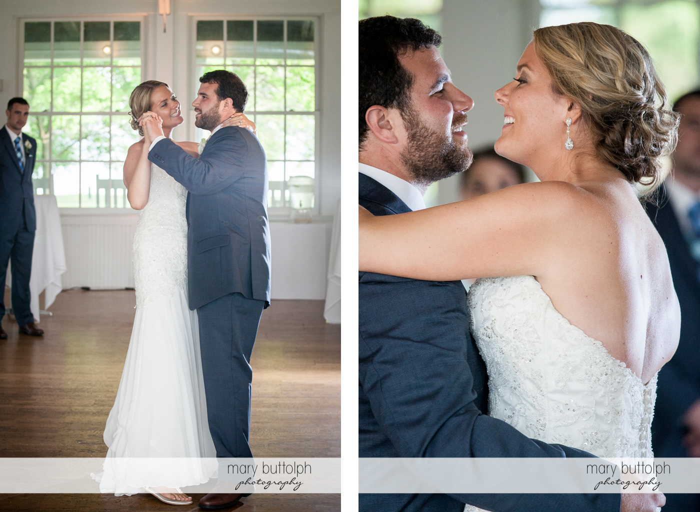Two shots of the couple dancing at Emerson Park Pavilion Wedding