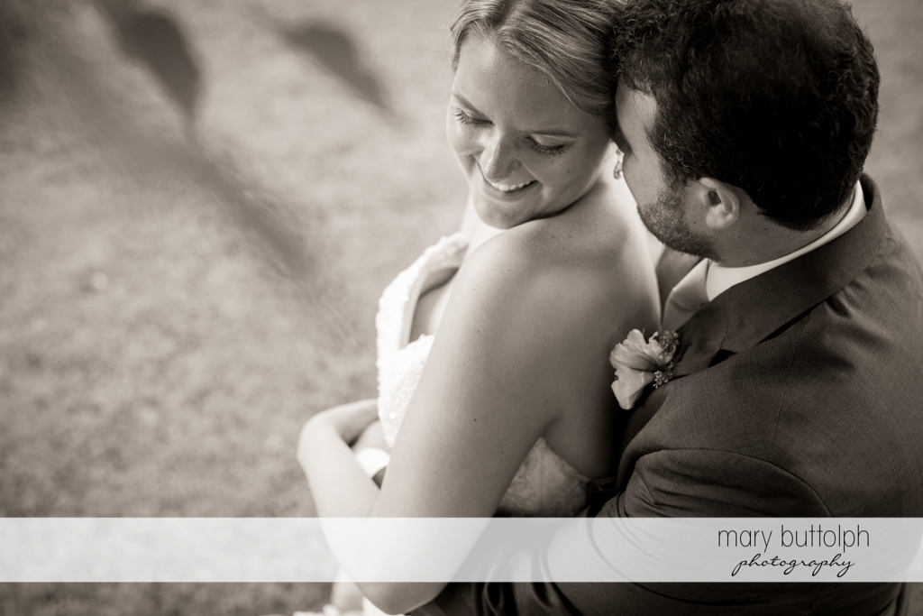 Side view of happy couple at Emerson Park Pavilion Wedding
