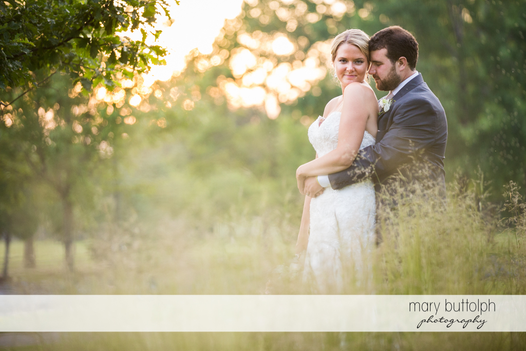Couple enjoy their moments together in the garden at Emerson Park Pavilion Wedding