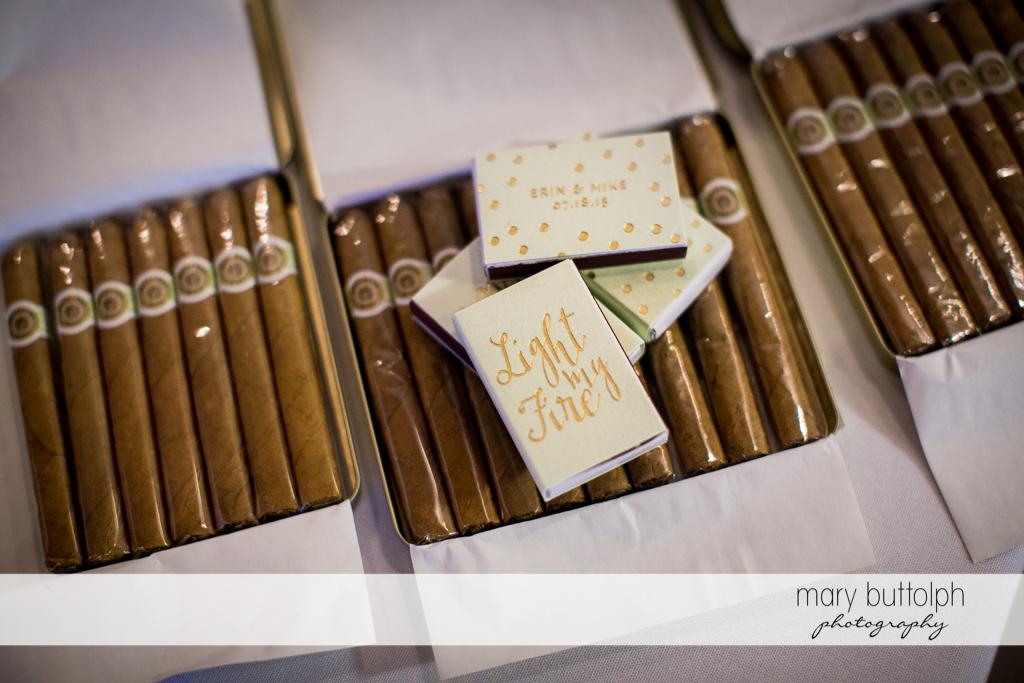 Cigars await guests at the wedding venue at Emerson Park Pavilion Wedding