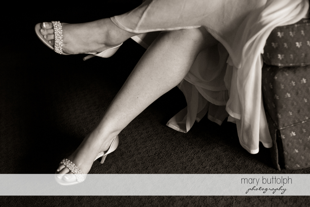Close up shot of bride's wedding shoes at Emerson Park Pavilion Wedding