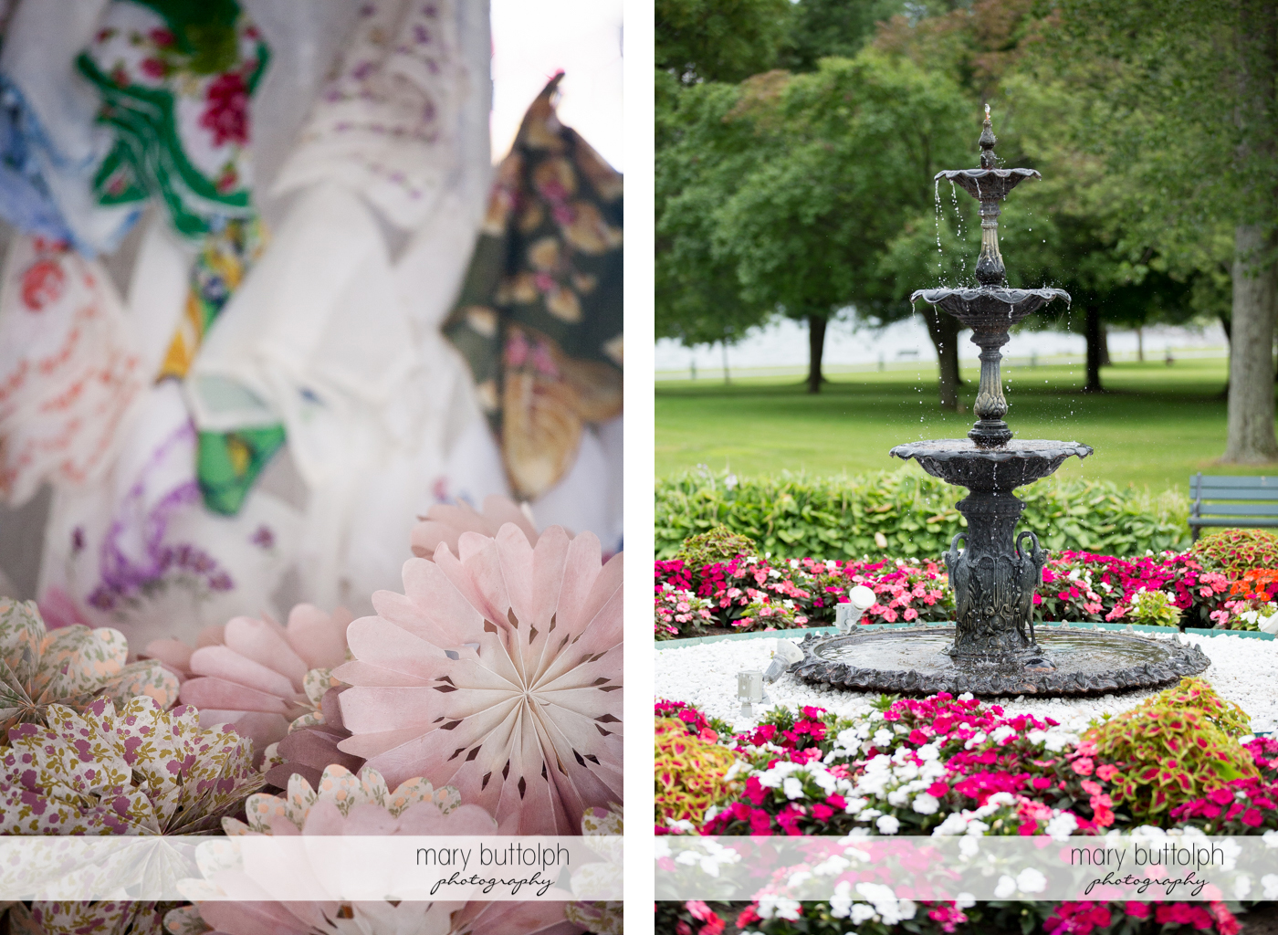Beautiful flowers surround the fountain in the garden at Emerson Park Pavilion Wedding