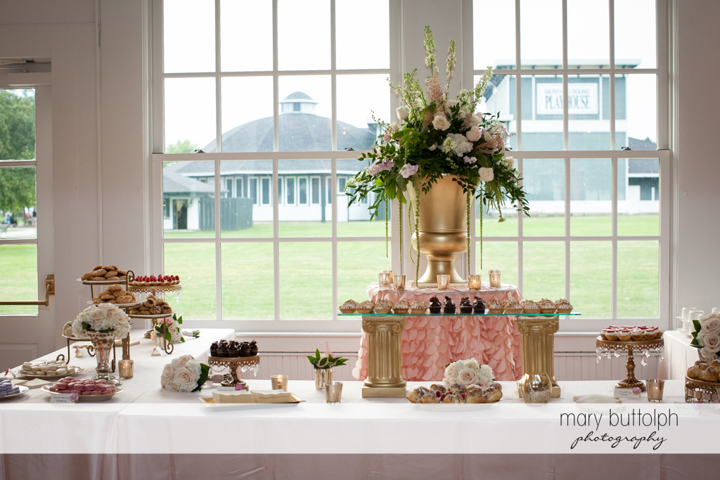 Desserts ready to be served at Emerson Park Pavilion Wedding