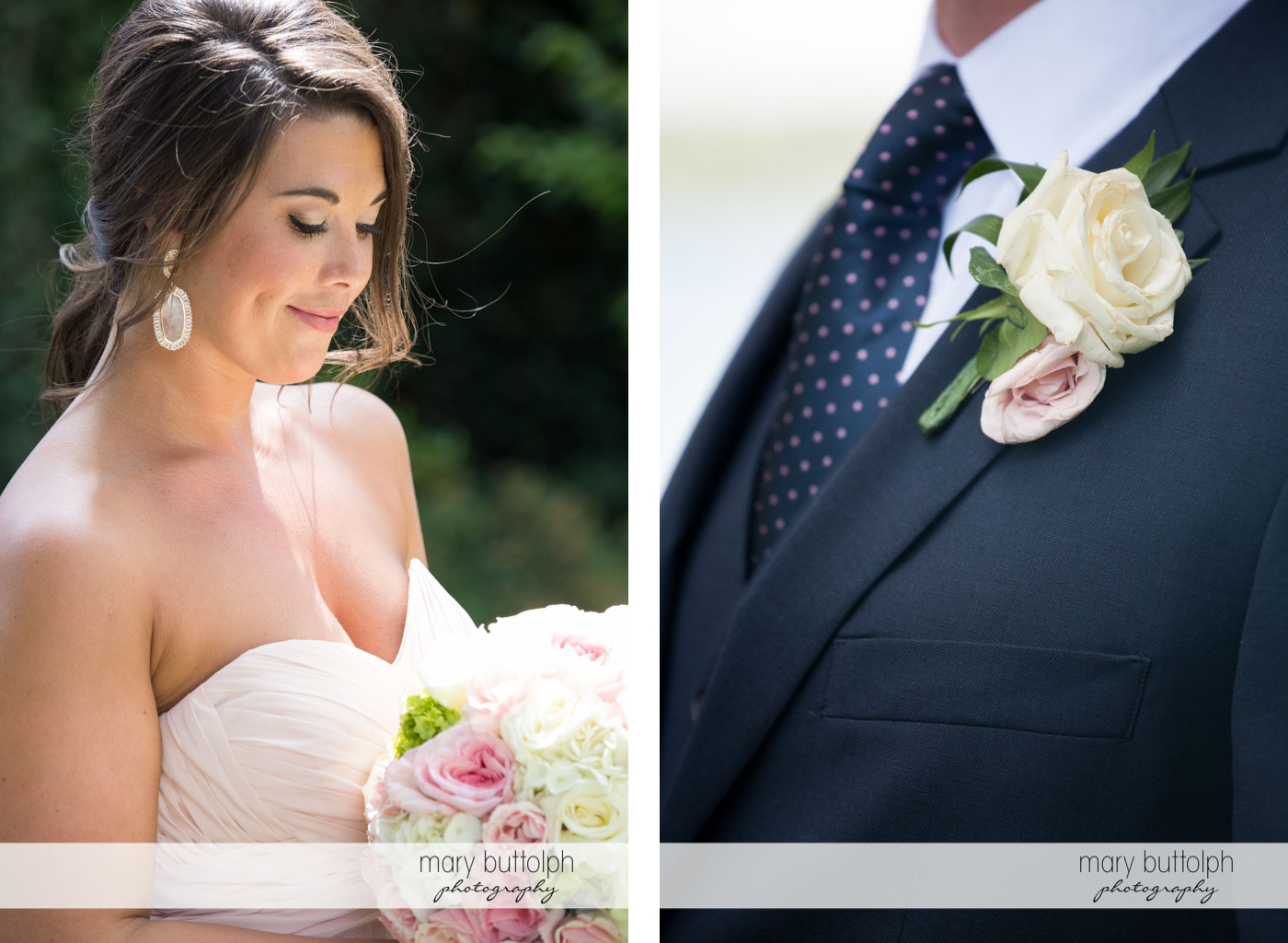 Medium shot of the bride with a bouquet and a close up shot of the groom's boutonniere at Skaneateles Country Club Wedding