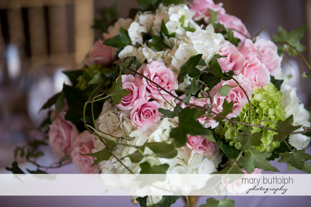 Close up shot of the beautiful bouquet at the wedding venue at Skaneateles Country Club Wedding