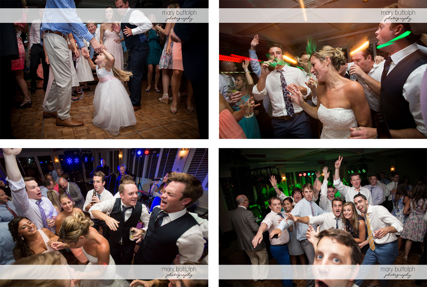 Various shots of the wedding party and guests having a good time on the dance floor at Skaneateles Country Club Wedding