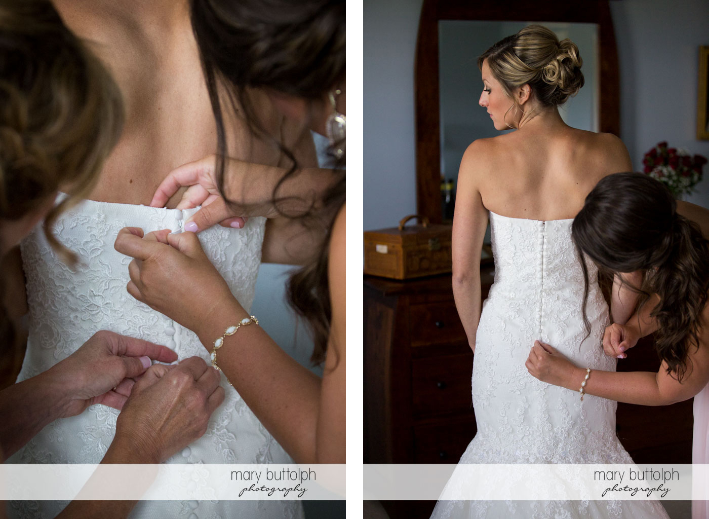 Friends make final adjustments on the bride's wedding dress at Skaneateles Country Club Wedding