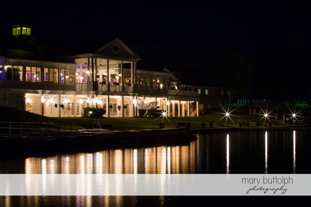 Long shot of the wedding venue in front of the lake at Skaneateles Country Club Wedding