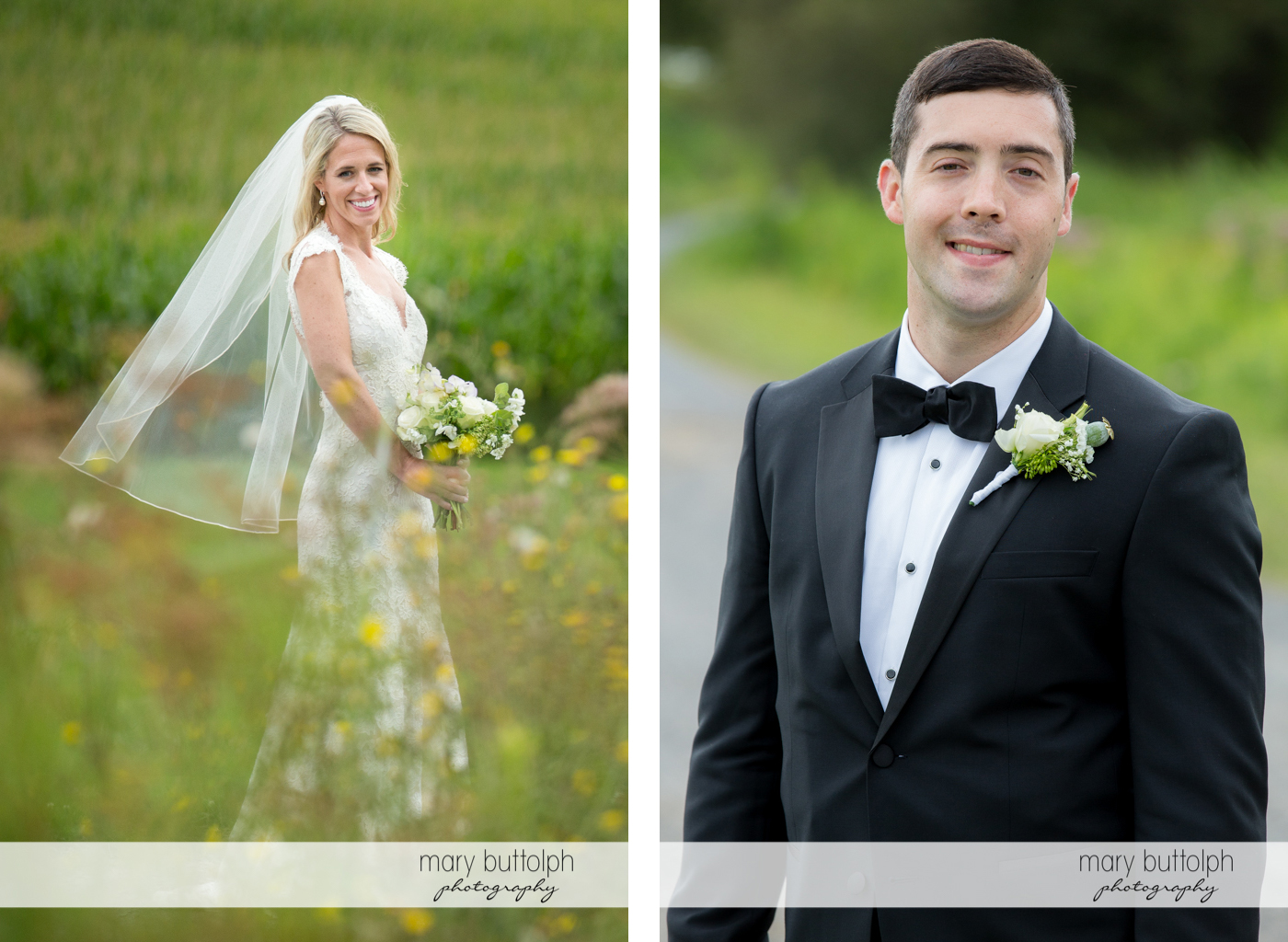 Solo shots of the couple in the garden at Skaneateles Country Club Wedding