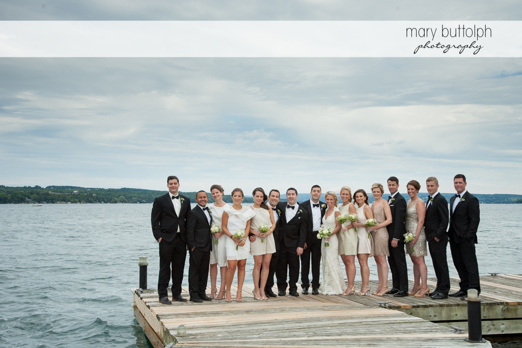 The wedding party by the lake at Skaneateles Country Club Wedding