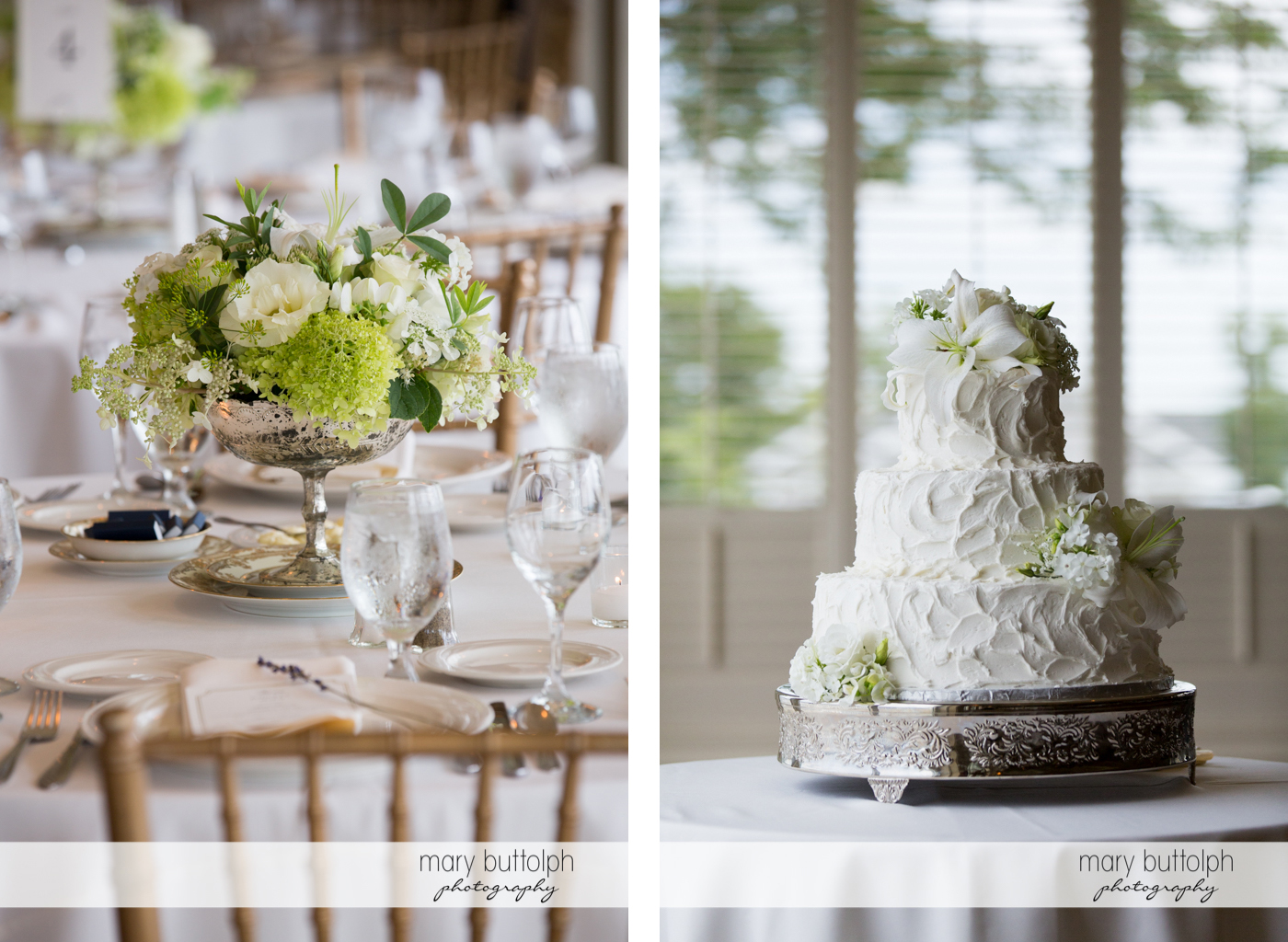 Flowers decorate the wedding venue and the wedding cake at Skaneateles Country Club Wedding
