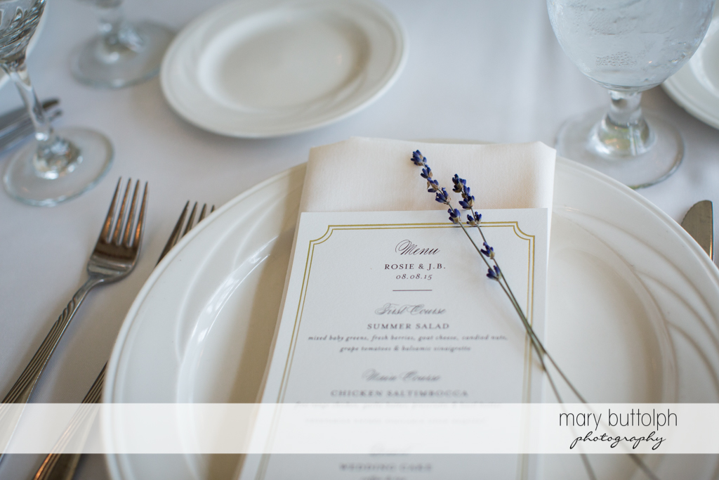 Close up shot of the menu at the wedding area at Skaneateles Country Club Wedding
