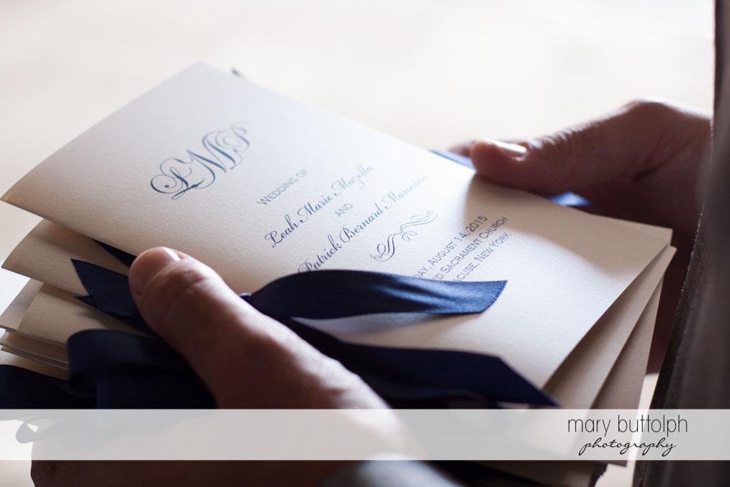 Couple's wedding program at Turning Stone Resort Casino Wedding