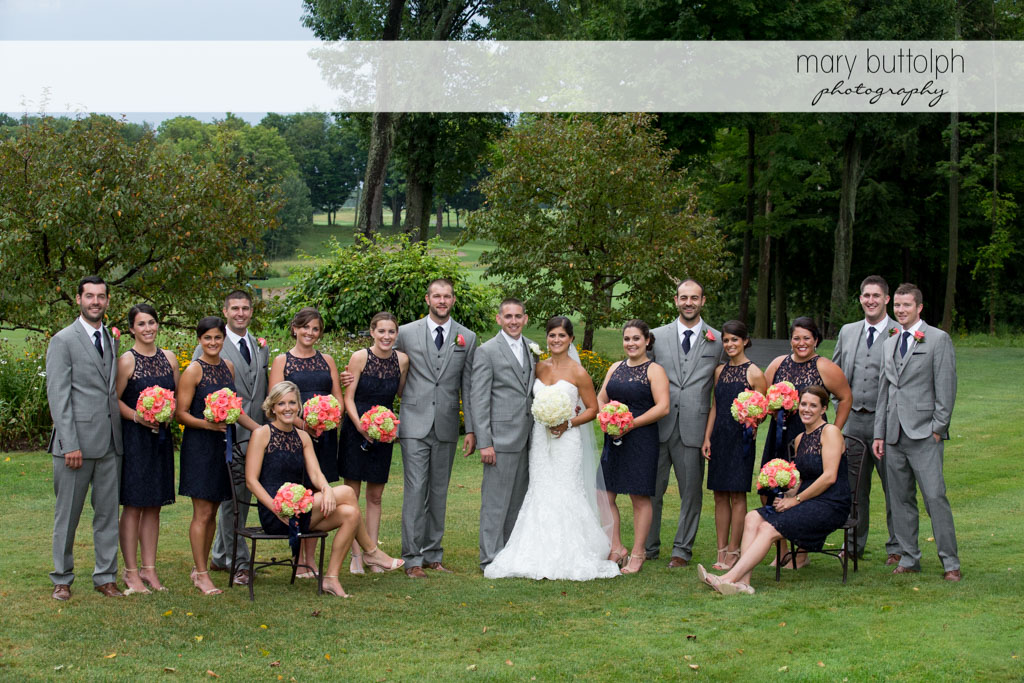 The wedding party in the garden at Turning Stone Resort Casino Wedding