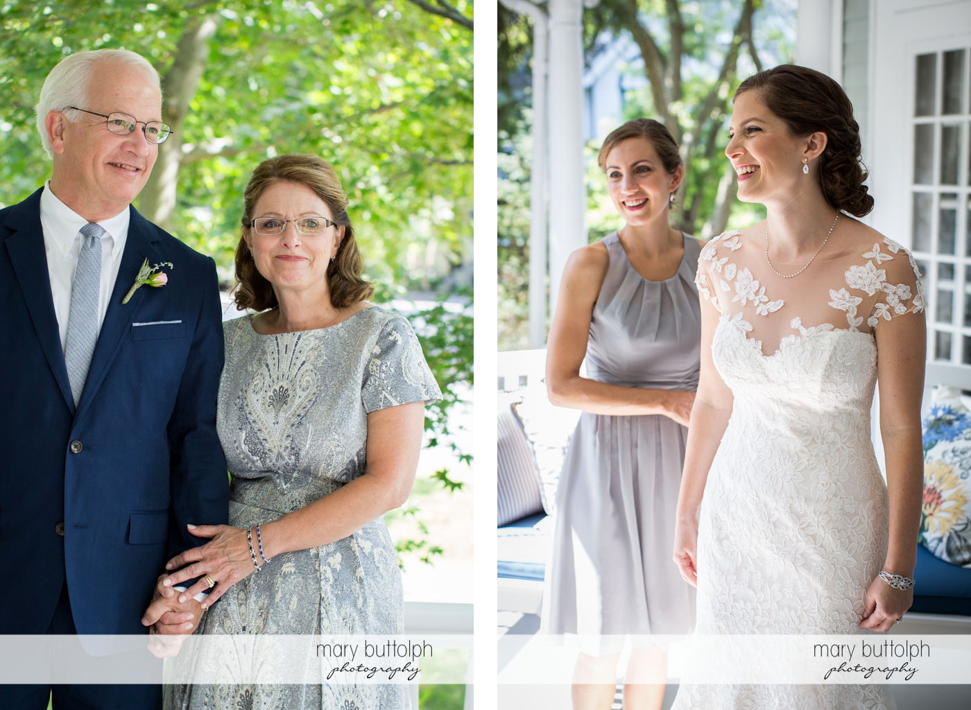 Bride's parents greet their daughter outside at Skaneateles Country Club Wedding
