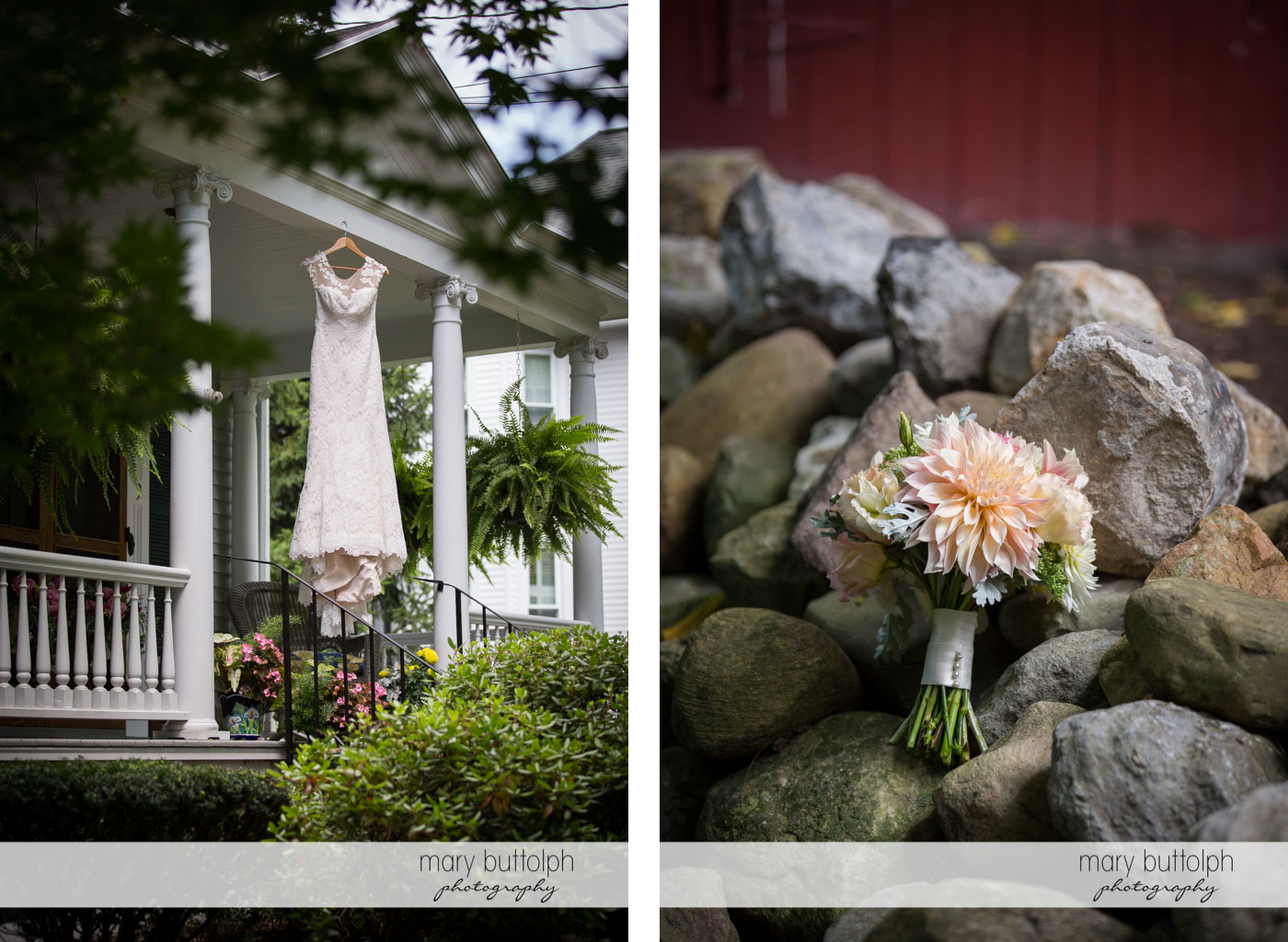 Bride's wedding dress hangs from the house while a bouquet brightens up the boulders at Skaneateles Country Club Wedding