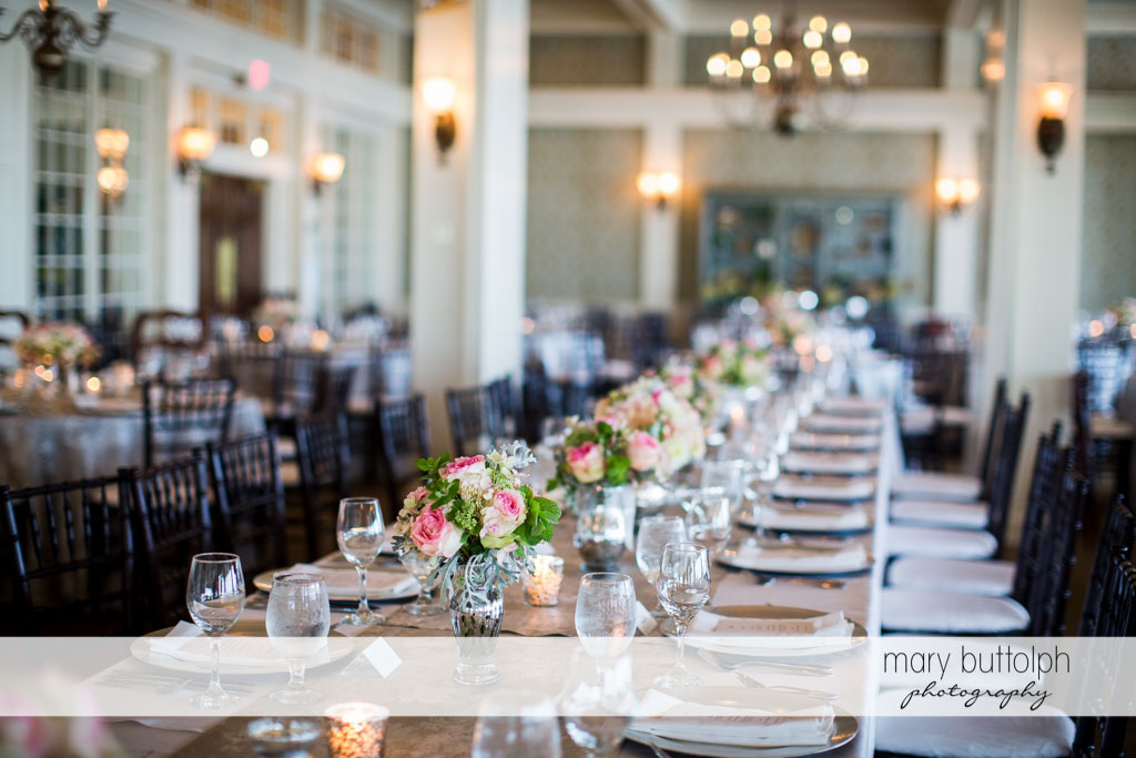 Flowers brighten up the wedding reception at Skaneateles Country Club Wedding