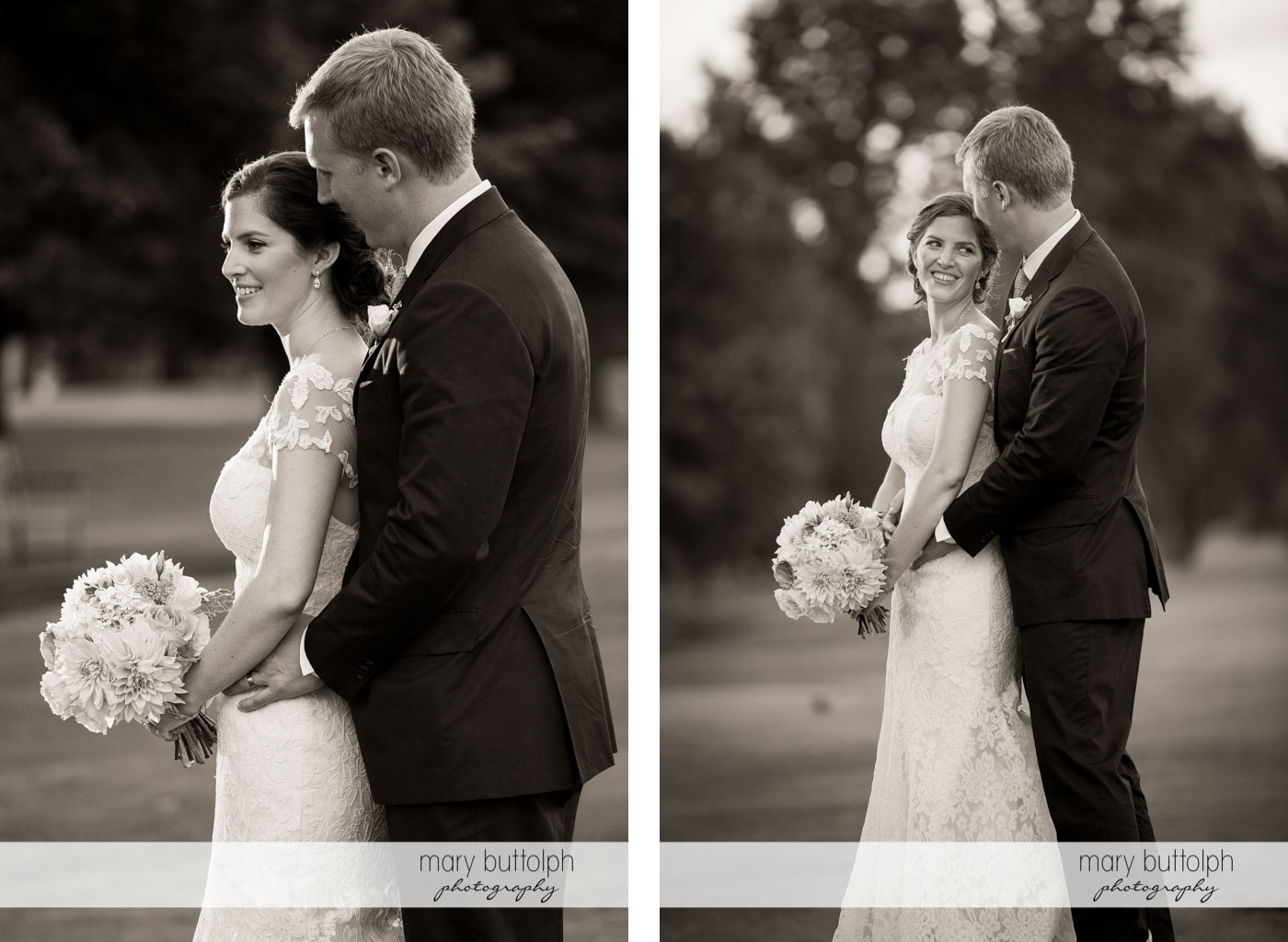 Two different views of the couple in the garden at Skaneateles Country Club Wedding