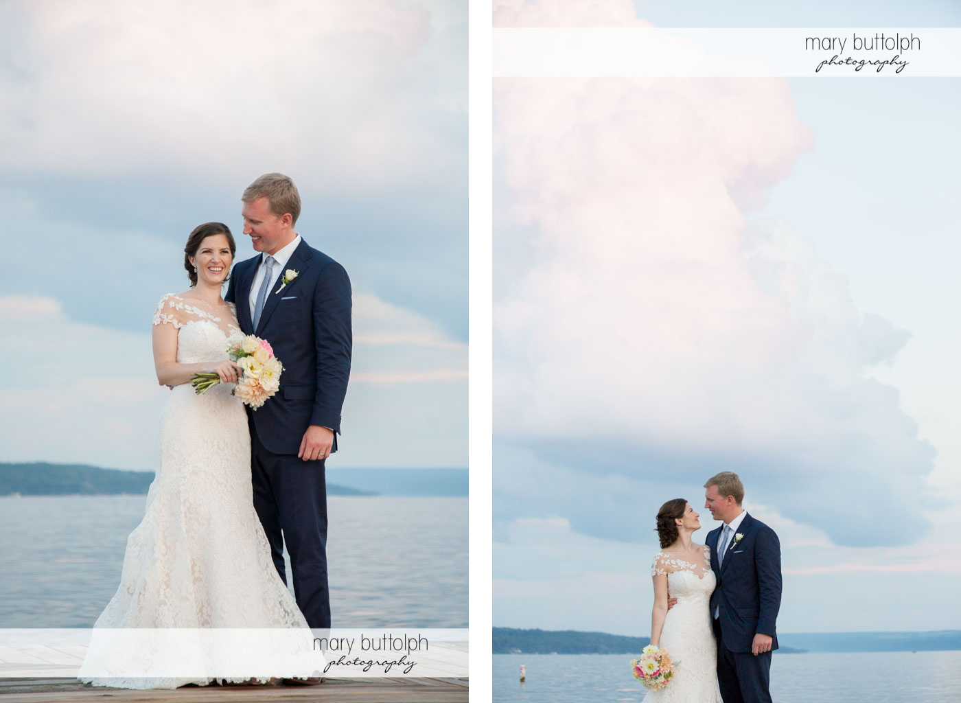 Couple in front of the lake at Skaneateles Country Club Wedding
