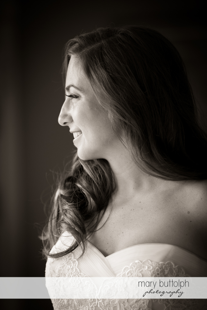 Side view of the lovely bride at the Brewster Inn Wedding