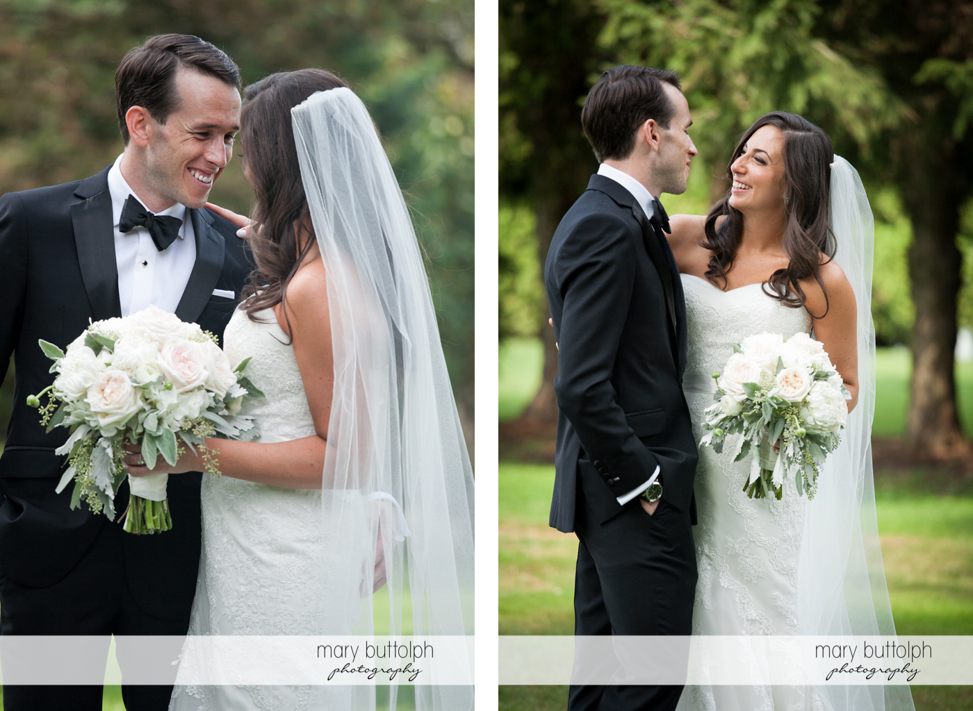 Two different views of the couple in the garden at the Brewster Inn Wedding