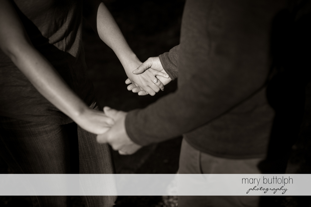Couple hold hands at Marcellus Engagement