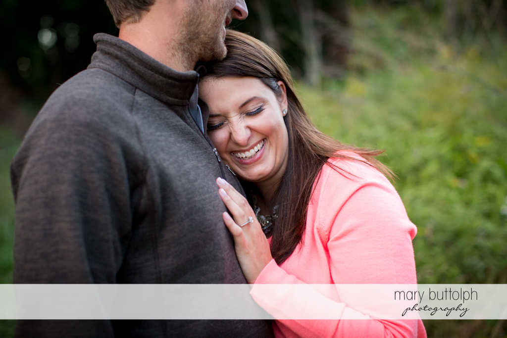 Couple pause at the park at Marcellus Engagement