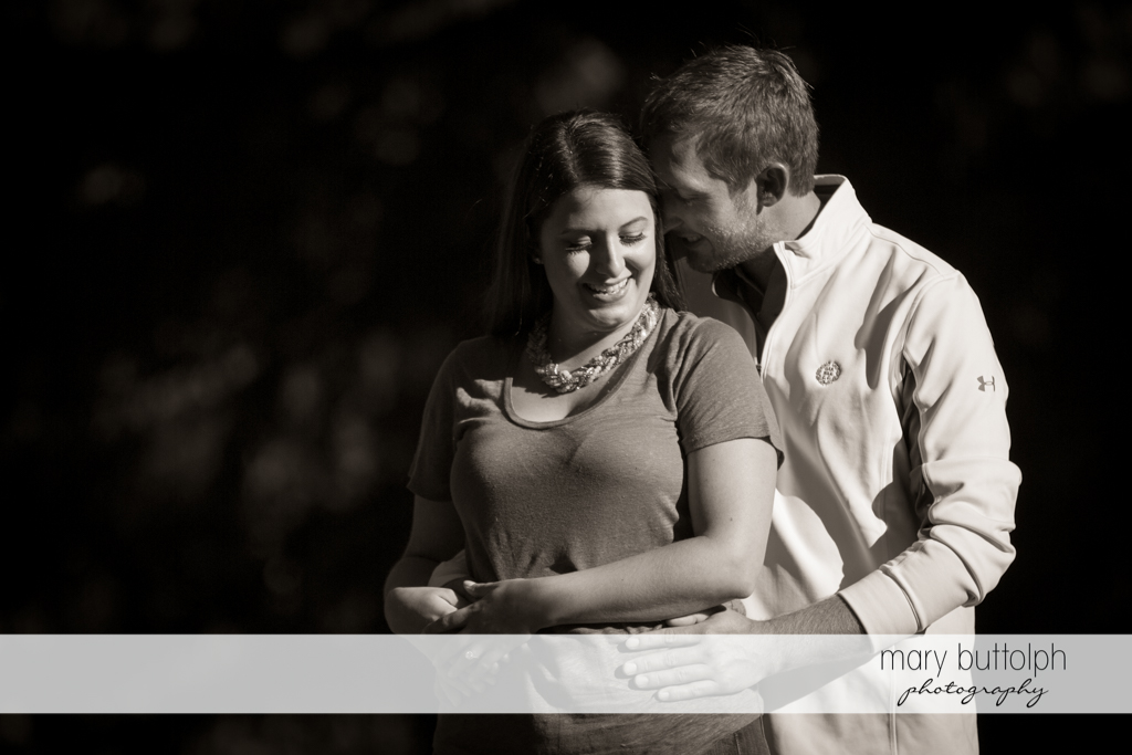Couple in dramatic black and white shot at Marcellus Engagement