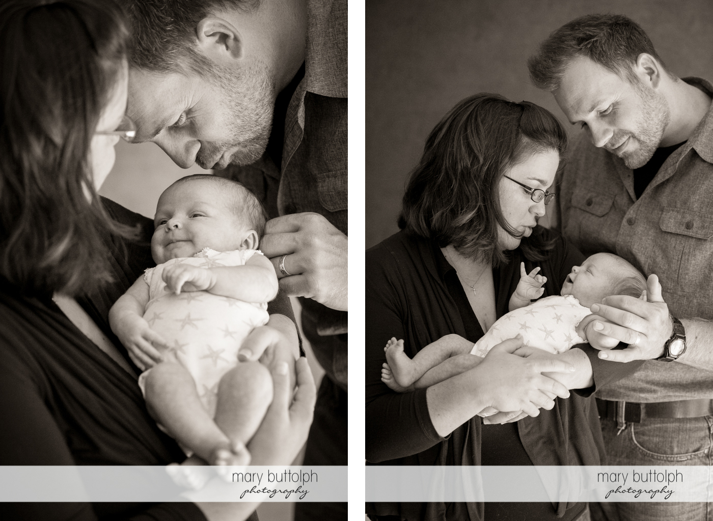 Couple admire their new baby at Skaneateles Newborn