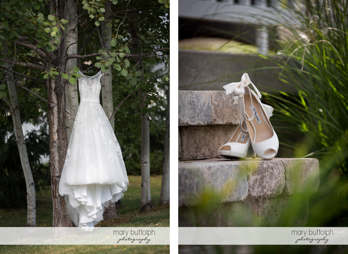 Bride's wedding dress hangs from a tree while her wedding shoes rest on the stone steps at Anyela's Vineyards Wedding