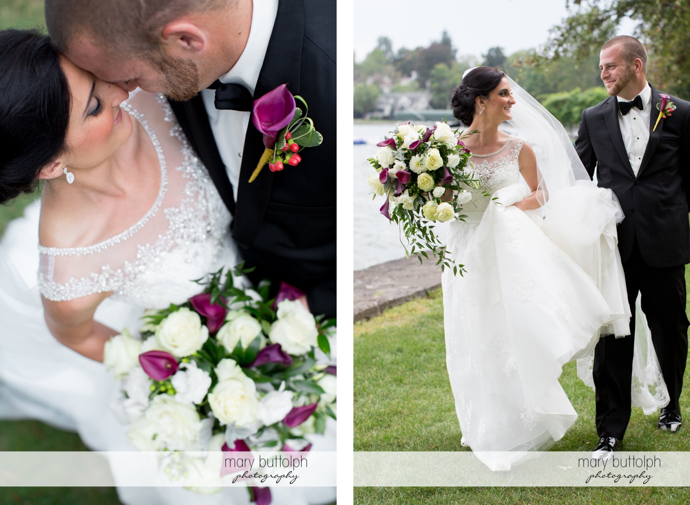 Couple rub noses and stroll in the garden at Anyela's Vineyards Wedding