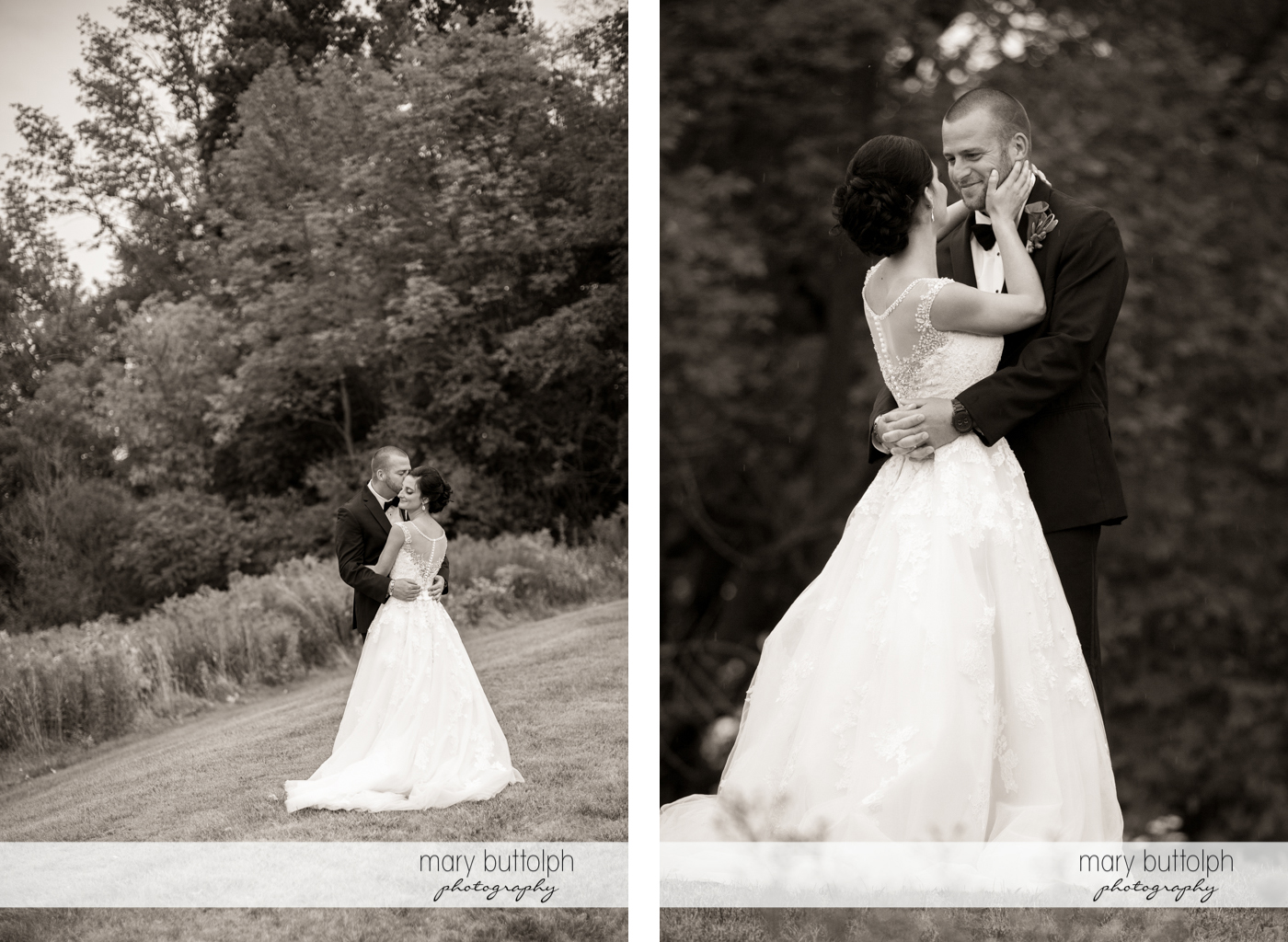 Dramatic black and white shots of the couple in the garden at Anyela's Vineyards Wedding