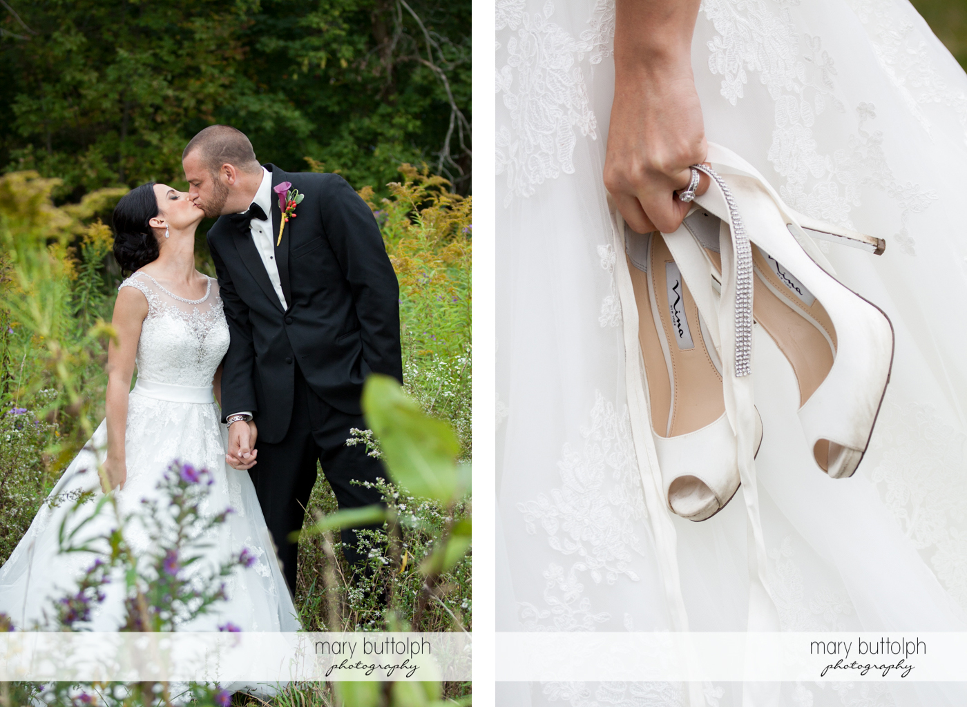 Couple kiss in the garden and the bride carries her wedding shoes at Anyela's Vineyards Wedding