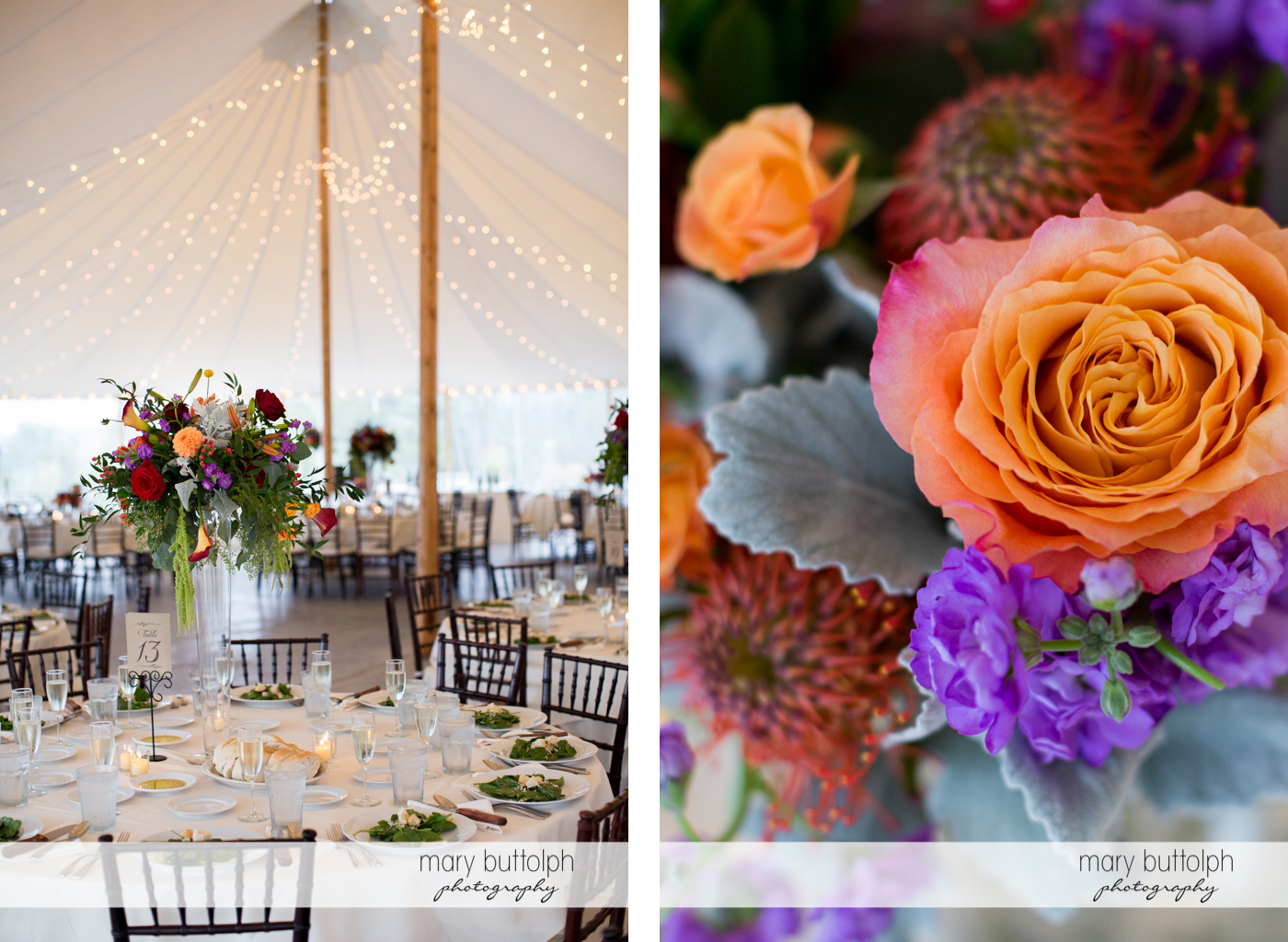 Colorful flowers adorn the tables at the wedding reception at Anyela's Vineyards Wedding